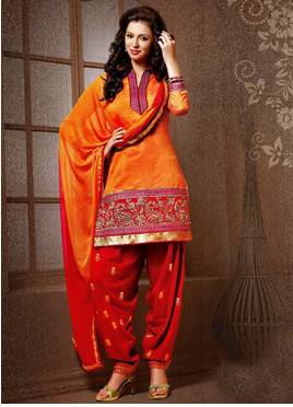 Orange And Red Chanderi Silk Punjabi Salwar Suit Fabric - 72 Lane ...