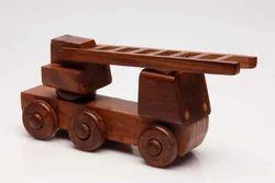 Dark Brown Wooden Ladder Truck Toy, for kids