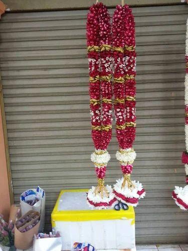 Madurai Decorators Red Rose Poola Wedding Garlands Exporter From