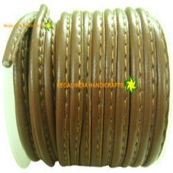 Stitched Nappa Round Leather Cords-Light Brown