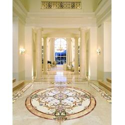 400 Square Feet Marble Floor Inlay Cutting Work