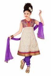 Cotton Jacquard Churidar Suit for Girls