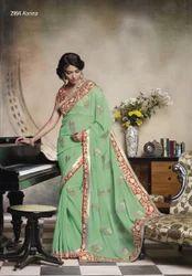 Cotton Pink Aqua Green Designer Sarees, With Blouse Piece, 5.5 M (separate Blouse Piece)