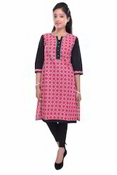 100% Cotton Printed Red & Black Kurta