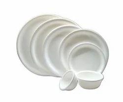 Round White Plate & Bowls