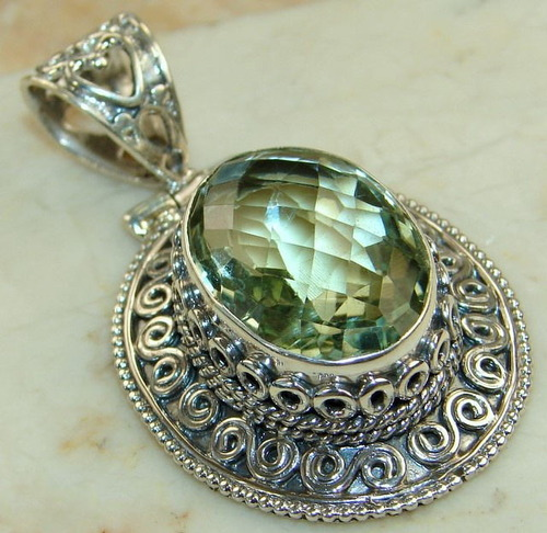 Green amethyst pendant jewels jaipur unit of silver impex green amethyst pendant aloadofball Images
