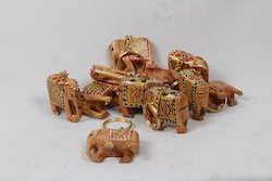 Wooden Painted Elephants Key Rings