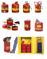Cylindrical RED Justrite Safety Cans, For Flammable Storage