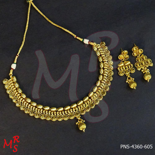 Simple Gold Plated Necklace Set at Rs 905 sets Delicate Jewellery