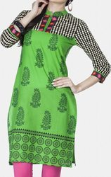 Green Paisley Printed Formal Kurti