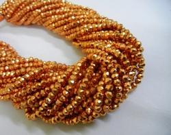 Natueal Pyrite Orange Facets Round 3-4mm Gemstone Bead Strand