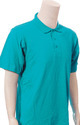 Cotton Collar Short Sleeve T-shirts - Turquoise