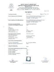 CPRI Test Certificate