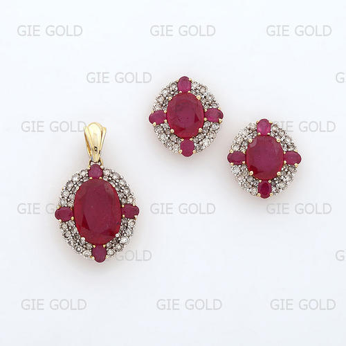 Ruby diamond pendant set diamond pendant sets mahaveer nagar ruby diamond pendant set aloadofball Image collections