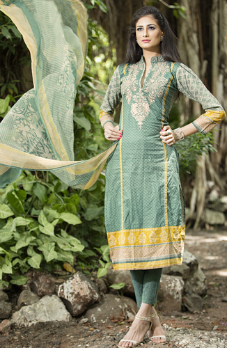 2331581f197 Green Printed Cotton Unstitched Salwar Kameez - Tacfab Fashions Pvt ...