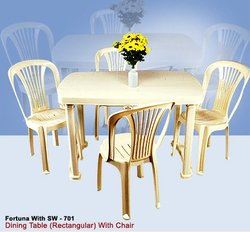 Plastic Rectangular Dining Table with Chair