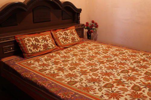 Hand Block Printed Bed Sheet Cotton Bagru Print Bed Sheets Rs - Orange print sheets