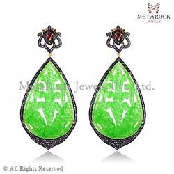 Micro Pave Setting Gemstone Carved Earring