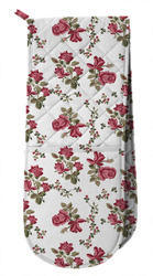 Pink Rose Flower Printed Double Oven Glove