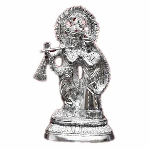 White Metal Silver Radha Krishna Statue Rs 100 Unit Mangal Gift