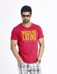 Mens Cotton Printed Red Half Sleeve T-Shirts, Size:  Size: Small, Medium, Large, XL