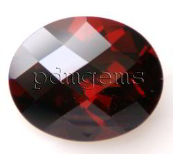 Garnet Faceted Oval Checkerboard Gemstone