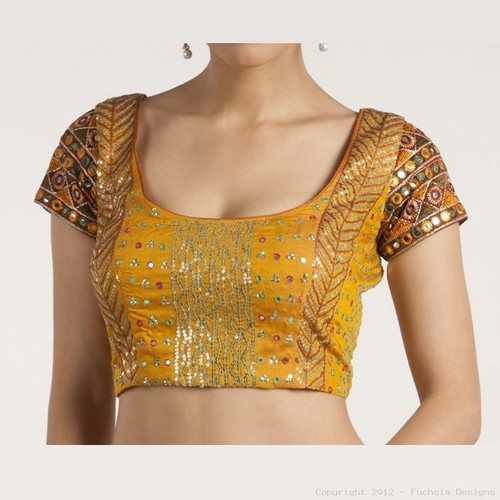 Two Toned Mustard Blouse With Sequin And Zari Embroidery
