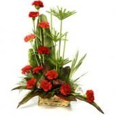 Red Carnations Basket