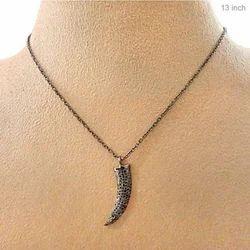 Diamond Silver Claw Pendant Chain Necklace