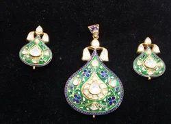 Polki pendant set in jaipur rajasthan manufacturers suppliers kundan meena polki pendant set aloadofball Choice Image