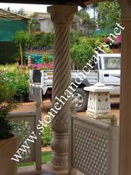 Twisted Design Stone Column