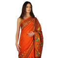 Orange Rust Kantha Work Pure Silk Saree