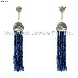 Pave Diamond Gemstone Tassels Earring