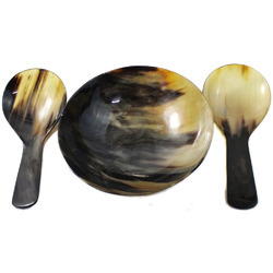 Horn Bowl with Cutlery Set