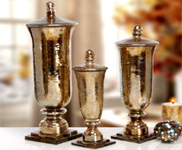 Glass Decorative Urn with Lid