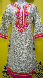 Embroidered Stand Collar Kurti