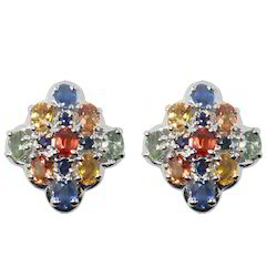 Multi Gem Silver Earring