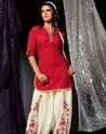 Red And White Patiala Suit