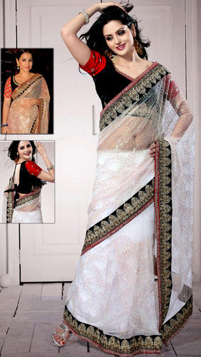 4a0b5aefab White Net Saree with Blouse, Bollywood Sarees | Maharaj Nagar, Kheri ...