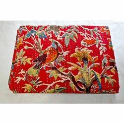 Floral Birds Kantha Quilt