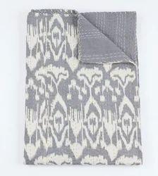 Gray Ikat Kantha Quilt