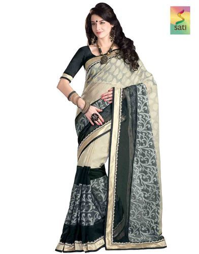 648642c11b Sati Black Cream Colored Banarasi Cotton Saree, Gadwal Cotton Sarees ...
