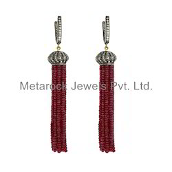 Ruby Gemstone Diamond Tassels Earring Jewelry