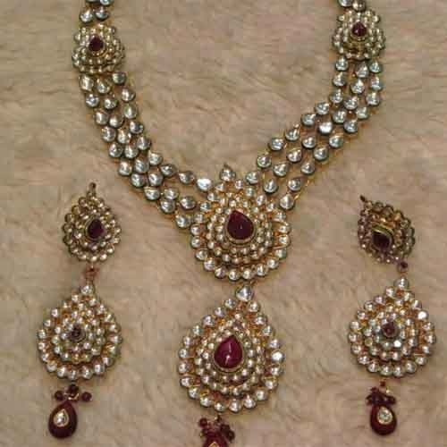 Bridal Jewellery Set With Price22k Gold Plated Necklace Set