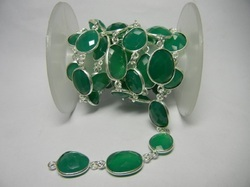 Green Onyx Gemstone Bezel Set Connector Station Chain