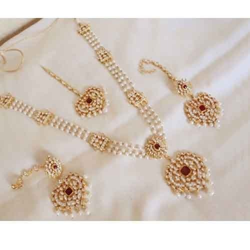 22k Gold Plated Bridal Kundan Long Pearl Necklace Earrings Teenas