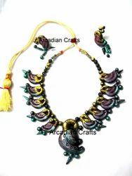 Designer Peacock Terracotta Necklace set