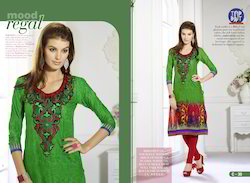 Printed Green Cotton Kurti