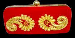 Red Cotton Ladies Clutch Bag