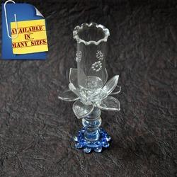 Lotus Design Handmade Clear Glass Candle Holder